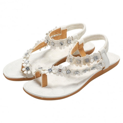 New Fashion Women Ladies Bohemia Style Floral Resin Rhinestone Elastic Band One Toe Flat Heel Sandal Thong Slipper