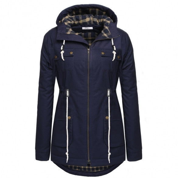 Women Casual Fashion Hooded Long Sleeve Loose Pocket Coat Long Outwear