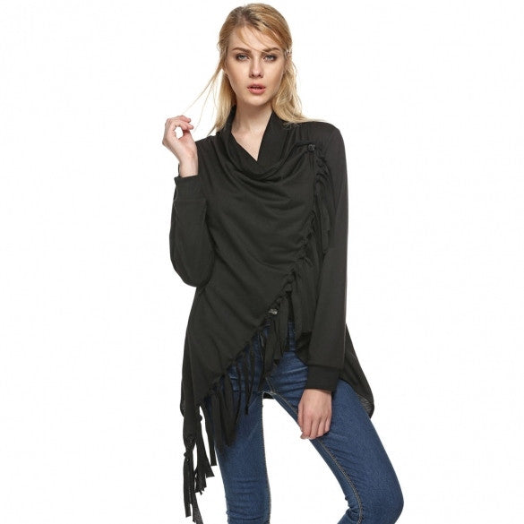 Fashion Lady Women's Folded Collar Long Sleeve Tassels Irregular Tops Long T-shirt