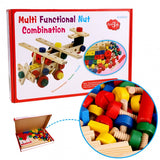 Baby 78 PCS Multi Functional Wooden Nuts And Bolts Combination Toys Building Construction Set