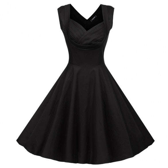 Sexy Lady Elegant Women V-Neck High Waist Sleeveless Casual Party Solid Midi Pleated Dress