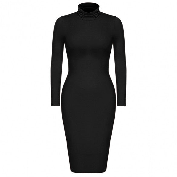 Women Sexy Turtle Neck Long Sleeve Solid Bodycon Stretch Dress