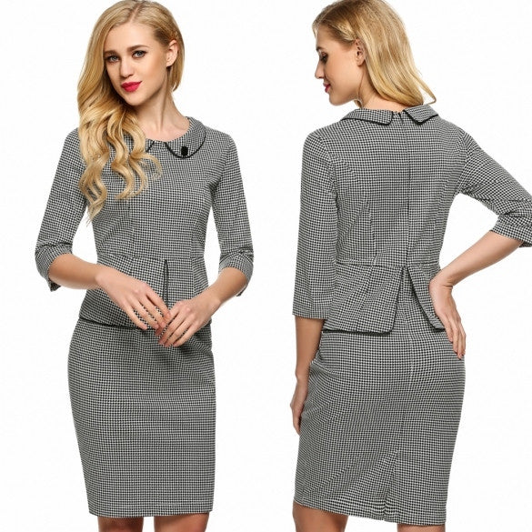 ANGVNG Women Casual Doll Collar Half Sleeve Grid Slim Falbala Elegant Dress
