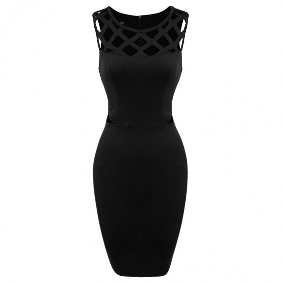 Women Casual O-Neck Sleeveless High Waist Hollow Out Casual Party Mini Pencil Dress