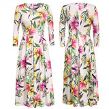 Women Casual Floral Print Pleated Vintage Style Dress