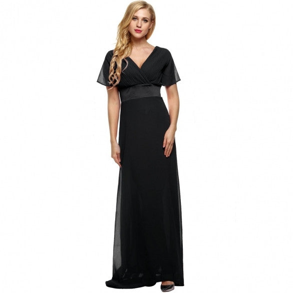Elegant Women Lady V Neck Short Sleeve Tunic Full Gown Chiffon Floor-length Party Evening Dress