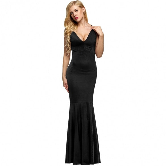 Elegant Sexy Women Strap V Neck Backless Bodycon Solid Floor-length Dress Full Gown