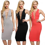 Women Sexy Sleeveless Hollow Out Backless Bodycon Cocktail Party Dress