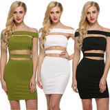 Women Sexy Lady Off Shoulder Bandage Bodycon Hollow Out Package Hip Solid Party Club Mini Dress