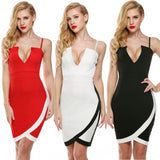 Spaghetti Strap Plunging V-Neck Bodycon Slim Fit Cocktail Mini Dress