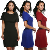 Women O-Neck Short Sleeve Classic Slim Fit Bodycon Dress