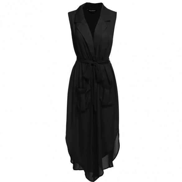 Fashion Women Sleeveless Slit Chiffon Maxi Shirt Dress With Belt