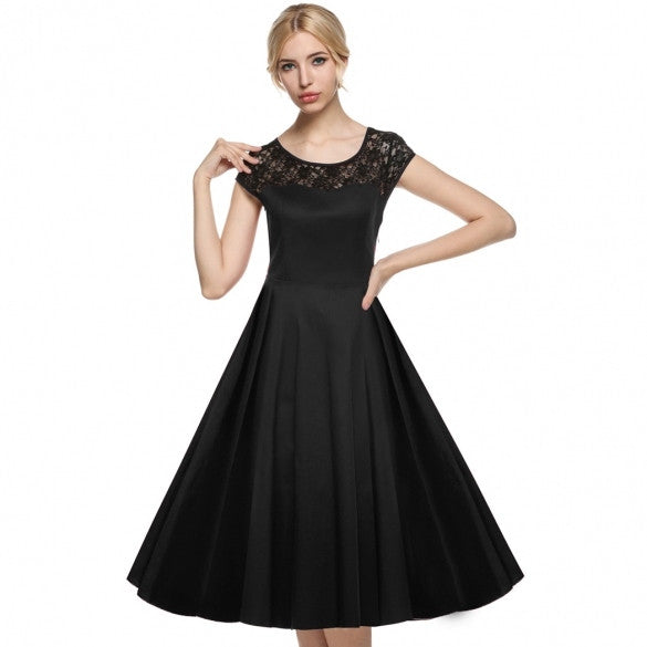 Women Cap Sleeve 1950s Vintage Style Lace Wedding Party Swing Midi Dress