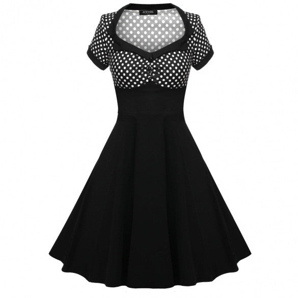 Women 1950s Vintage Style Dots Short Sleeve Swing Party Midi Dress