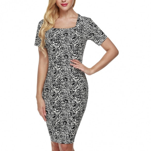 Women Short Sleeve Slim Bodycon Wrap Tunic Cocktail Party Pencil Dress
