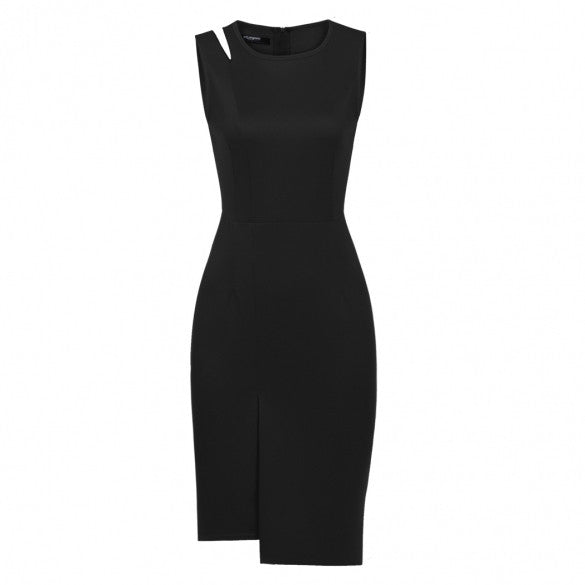 Women Sleeveless Sexy Cut Out Shoulder Slim Fit Bodycon Dress