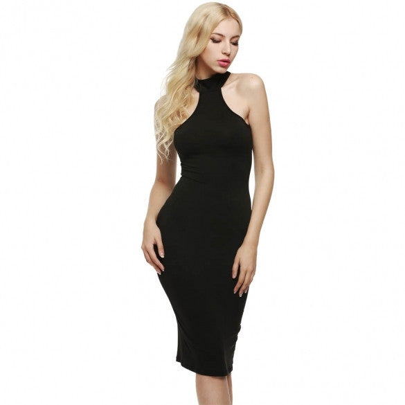 High Neck Sleeveless Slim Fit Back Hollow Cocktail Bodycon Dress