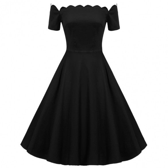 Retro Women Off Shoulder Cap Sleeve Plain Swing Dress