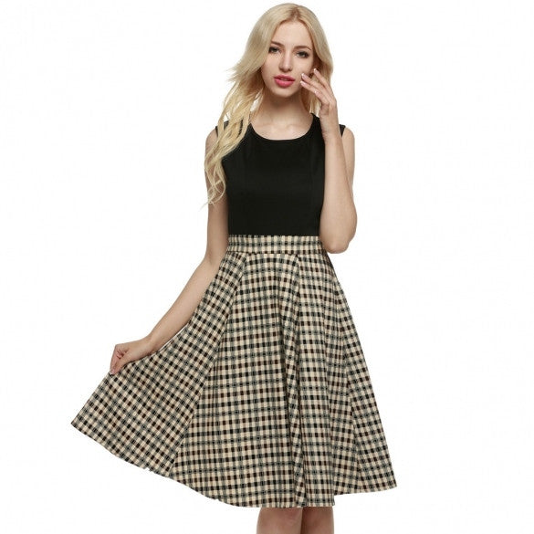 Women 1950s Vintage Style Retro Sleeveless Plaid Patchwork A-line Cocktail Party Midi Dress