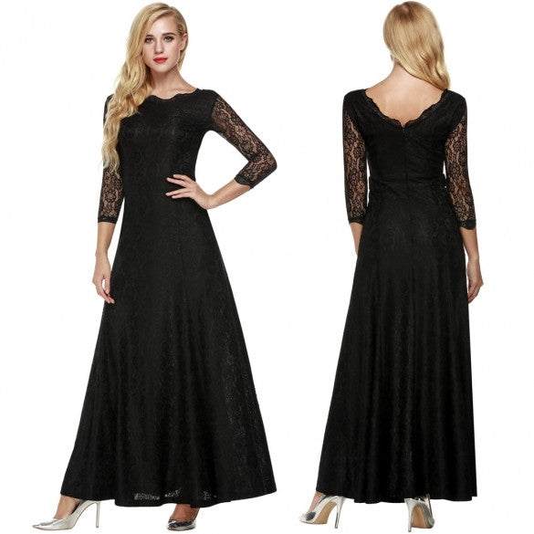 Women Lace 2/3 Sleeve Bridesmaid Homecoming Long Gown Maxi Cocktail Party Evening Fromal Dress