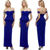 Women Strapless Drop Shoulder Peplum Maxi Evening Formal Dress Party Cocktail Long Gown