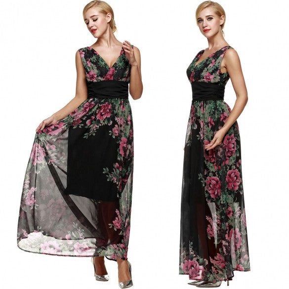 Graceful Women Floral Print Chiffon Party Evening Bridesmaid Long Dress Full Gown With Necklace