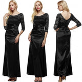 Women 3/4 Sleeve Lace Padded Party Wedding Cocktail Party Evening Dress