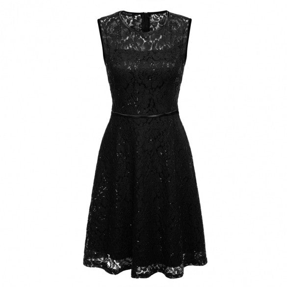 Women Sleeveless Lace Sequin Casual Party Dress