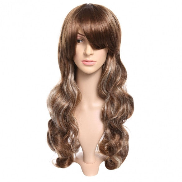 Women Long Full Curly Wavy Hair Wig Fashion + Wig Cap + Wig Comb Brown