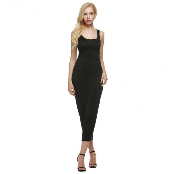Women Sexy Sleeveless Slim Fit Solid Bodycon Tank Maxi Dress