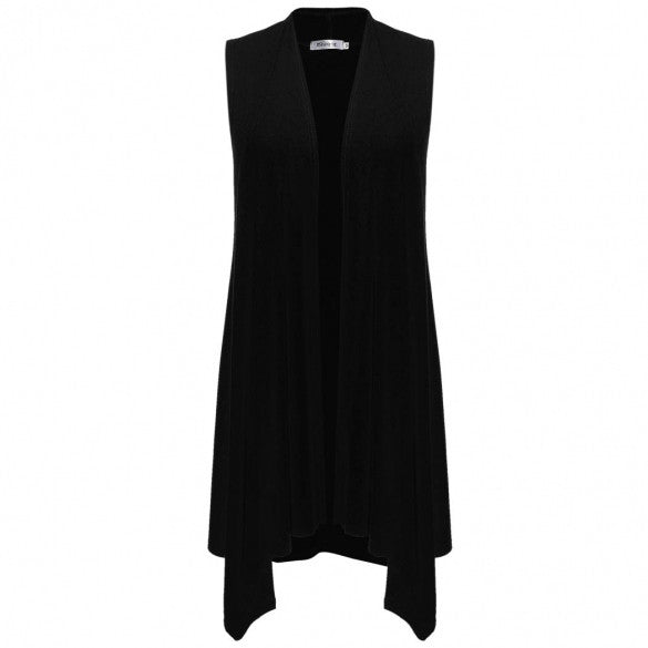 Women Sleeveless Asymetric Hem Open Front Solid Cardigan Coat