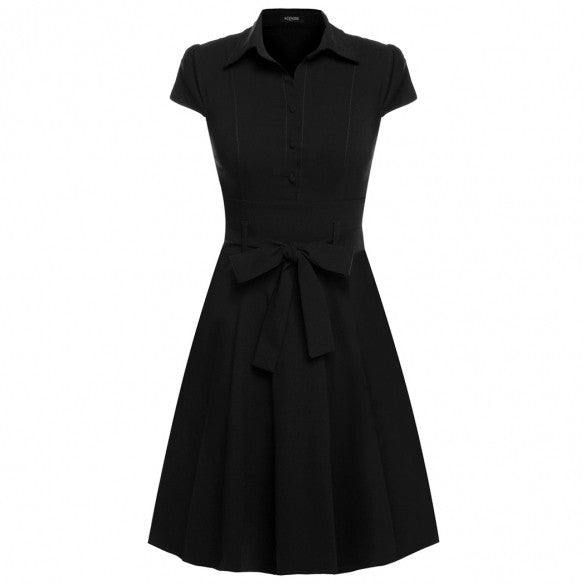 Women Cap Sleeve Belt Vintage Style Classical Casual Party Swing Dress
