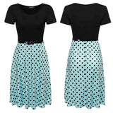 Women Short Sleeve O-Neck Polka Dots A-Line Dress With Belt
