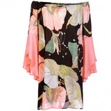 Women Casual Off Shoulder Butterfly Sleeve Floral Print Chiffon Dress