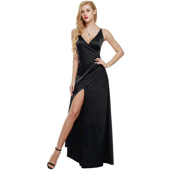 Women Strap Sleeveless Split Side Evening Dress Long Evening Gown