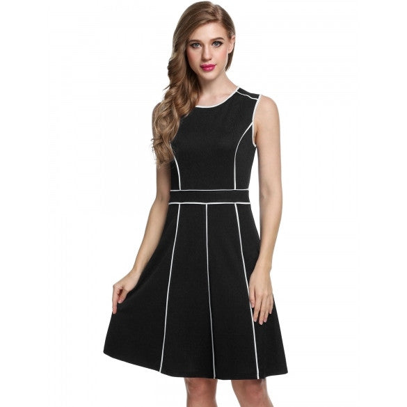 Women Sleeveless Contrast Color Pleated Fit And Flare Party Dress