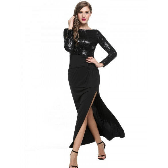 Women Long Sleeve Backless Side Slit Sequin Evening Dress Full Gown