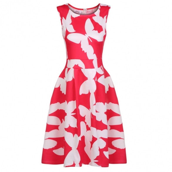 Women Print Sundress Casual Fit And Flare Sleeveless Dress