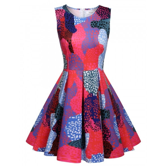 Women Sleeveless Print Sundress Multi-colors Slim Casual Party Mini Pleated Dress