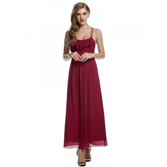 Women Chiffon Backless Cross Strap Ruffles Long Maxi Party Dress