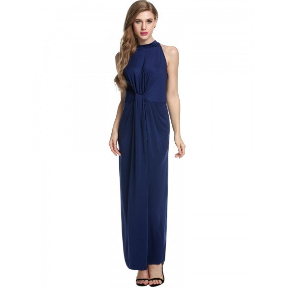 Elegant Women Sleeveless Twist Knot Front Slim Fit Maxi Long Dress