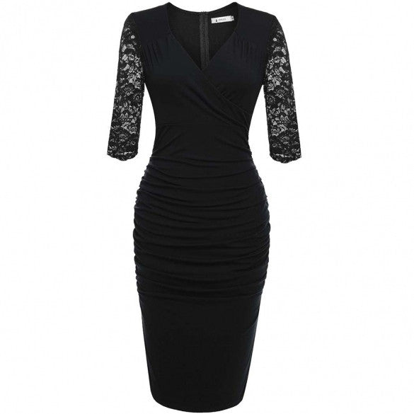 Women Deep V Neck Slim Fit Ruffle Floral Lace Bodycon Retro Evening Party Midi Pencil Dress