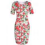 Women Ladies Short Sleeve Floral Pencil Dress Charming Package Hip Calf Length Party OL Dress