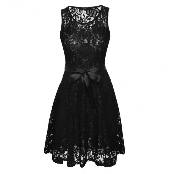 Women Sleeveless Round Neck Lace Mini Pleated Dress With Belt