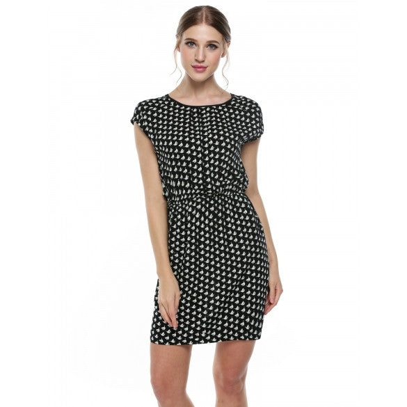 Women Round Neck Elastic Waist Print Casual Fit Pocket Dress