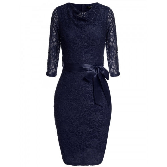 Women Ladies Lace Floral Pencil Dress 3/4 Sleeve Tunic Elegant Package Hip Slim Party Knee Dress With Belt