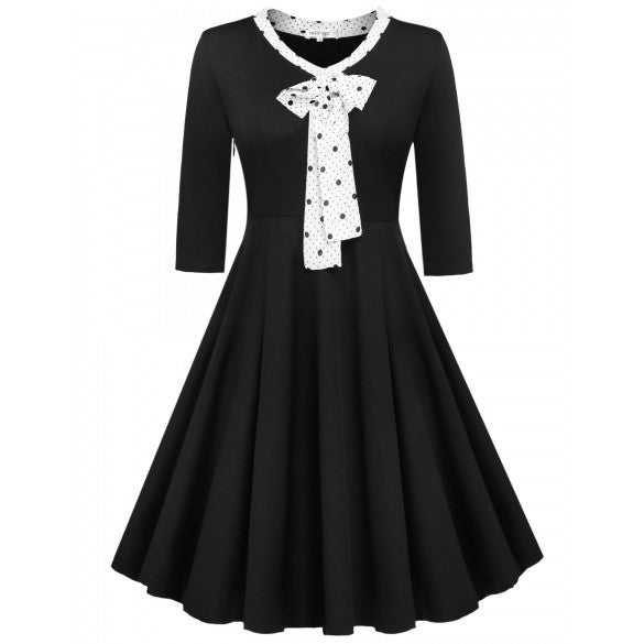 Women V-Neck Medium Sleeve Pleated Dress Lace-up Bow Decor High Waist Party Dress