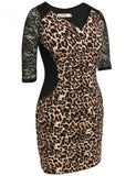 Women Casual Sexy V-Neck Lace Patchwork Leopard Party Dress