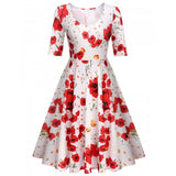 Women Ladies V-Neck Pleated Dress Medium Sleeve Print Swing Hem Slim Party Calf Dress
