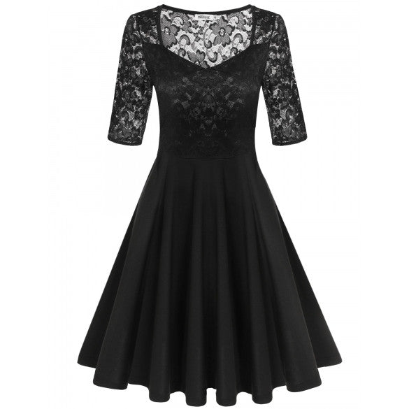 Women Medium Sleeve Pleated Dress V-neck Lace Patchwork Hollow Swing Party Slim Dress